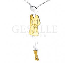 Wyjątkowy naszyjnik z urokliwą zawieszką w kształcie wytwornej i eleganckiej kobiety wykonany ze srebra i srebra pozłacanego