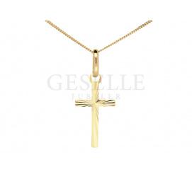 Delikatny krzyżyk z 8-karatowego złota - diamentowany