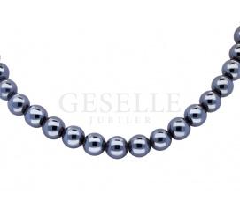 Wyjątkowy naszyjnik z pereł hodowlanych w kolorze hematytu ze srebrnym zapięciem
