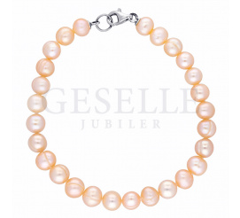 Piękna bransoleta z okrągłych pereł hodowlanych w kolorze łososiowym z zapięciem ze srebra