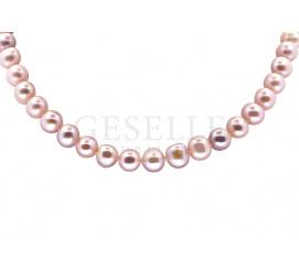 Naszyjnik z różowych pereł hodowlanych mieniących się złotem i srebrem ze srebrnym zapięciem
