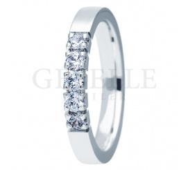 Niepowtarzalny pierścionek z białego złota 14K z pięknymi brylantami na zaręczyny, rocznicę - kolekcja ESSENCE II