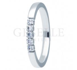 Nowoczesny pierścionek zaręczynowy z białego złota 14K z brylantami  0.15 ct - kolekcja ESSENCE II
