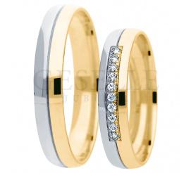 Dwukolorowy komplet obrączek ślubnych - białe i żółte złoto próby 585 - z cyrkoniami Swarovskiego lub brylantami w oprawie jubilerskiej