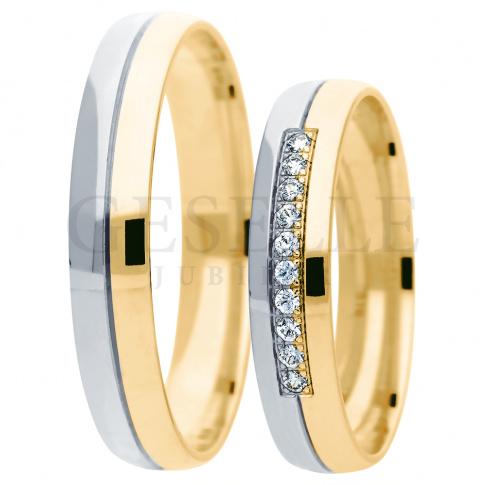 Dwukolorowy komplet obrączek ślubnych - białe i żółte złoto - z cyrkoniami Swarovskiego lub brylantami w oprawie jubilerskiej