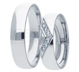 Pełen elegancji komplet obrączek ślubnych z białego złota z brylantami lub cyrkoniami Swarovskiego w oprawie jubilerskiej