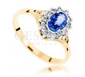 Wyjątkowy pierścionek zaręczynowy z centralnie oprawionym szafirem naturalnym oraz lśniącymi brylantami