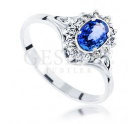 Pierścionek zaręczynowy w stylu retro - białe złoto z niebieskim szafirem oraz brylantami