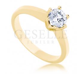 Wyjątkowy pierścionek zaręczynowy w klasycznym stylu z lśniącym brylantem 0,50 ct