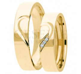 Oryginalny komplet obrączek ślubnych z 14-karatowego żółtego złota - ponadczasowy symbol serca