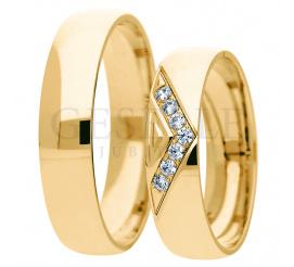 Nowoczesny komplet obrączek ślubnych z żółtego złota pr. 585 - ozdobne kamienie pełne blasku