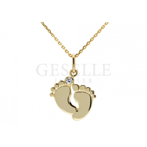 Wyjątkowa złota zawieszka z brylantem, idealna na prezent - chrzest, komunia, narodziny dziecka - GRAWER W PREZENCIE