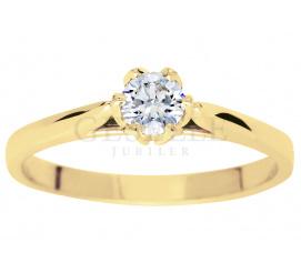 Niezwykły pierścionek zaręczynowy z brylantem  o masie 0,25 ct - niezwykła  oprawa w kształcie tulipana