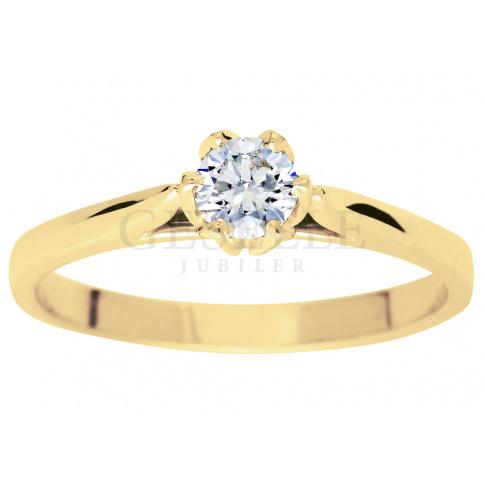 Niezwykły pierścionek zaręczynowy z brylantem o masie 0.30 ct - niezwykła oprawa w kształcie tulipana