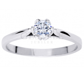 Unikatowy pierścionek zaręczynowy z brylantem 0.30 ct barwa H, czystość SI - niezwykła, tulipanowa oprawa