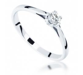 Zachwycający pierścionek zaręczynowy z brylantem 0.20 ct - niezwykła, tulipanowa oprawa