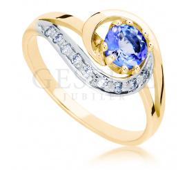 Wyjątkowy pierścionek zaręczynowy z żółtego złota próby 585 z naturalnym tanzanitem w towarzystwie brylantów