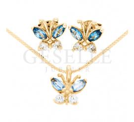 Wyjątkowy komplet biżuterii, wykonany z żółtego złota próby 585 o ciekawym kształcie - motyla