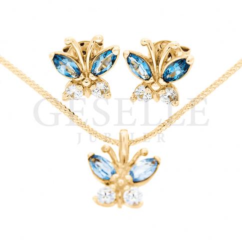 272c3b633fda16 Wyjątkowy komplet biżuterii, wykonany z żółtego złota próby 585 o ciekawym  kształcie - motyla - Na prezent, Biżuteria - GESELLE Jubiler