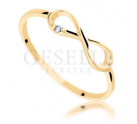 Subtelny i delikatny, złoty pierścionek próby 585 z wiecznym brylantem 0,01 ct - nieskończoność ETERNITY