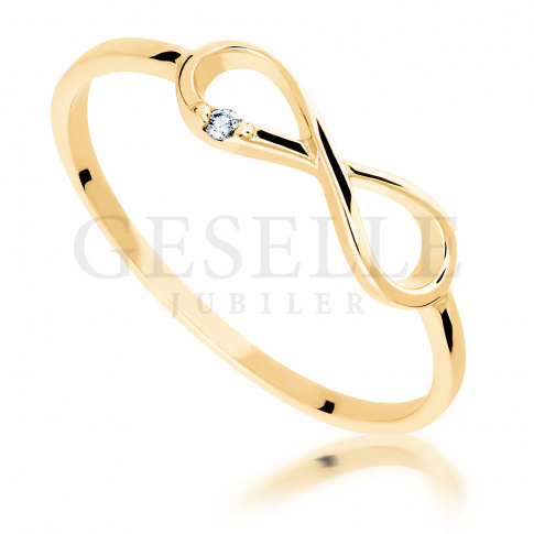 Subtelny i delikatny, złoty pierścionek z wiecznym brylantem 0.01 ct - nieskończoność ETERNITY