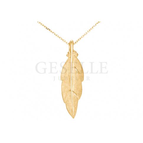 Symbol przyjaźni - modna złota zawieszka w kształcie piórka w stylu gwiazd!