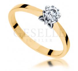 Złoty pierścionek zaręczynowy z koroną w kształcie motyla i brylantem - Symbol Miłości