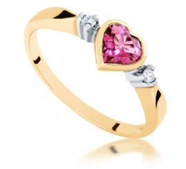 Złoty pierścionek zaręczynowy z turmalinem w kształcie serca - styl romatyczny