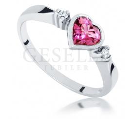 Wyjątkowy pierścionek zaręczynowy z kamieniem w kształcie serca - turmalin i brylanty w oprawie z białego złota