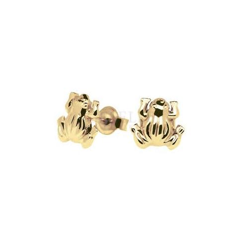 Wyjątkowe kolczyki wkrętki wykonane z żółtego złota, w kształcie żaby