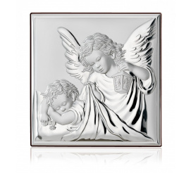Obrazek srebrny - wizerunek aniołka z latarenką