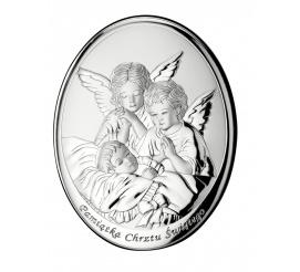 Okrągły obrazek ze srebra - wizerunek opiekuńczych aniołków nad dzieckiem