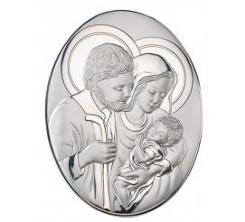 Obrazek sakralny srebrny - wizerunek Świętej Rodziny z Dzieciątkiem
