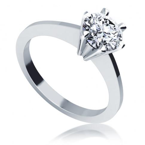 Pierścionek zaręczynowy z białego kruszcu z imponującym brylantem 0.90 ct