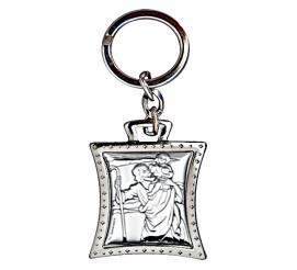 Srebrny brelok do kluczy - wizerunek Świętego Krzysztofa