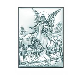 Obrazek srebrny - Anioł Stróż z dziećmi na kładce