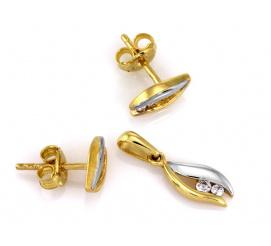 Ponadczasowy komplet złotej biżuterii zdobiony lśniącymi cyrkoniami