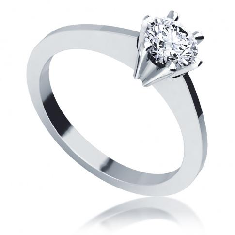 Brylant 0.45 ct i białe złoto, czyli klasyczny pierścionek zaręczynowy