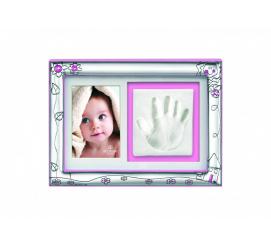Srebrna ramka na zdjęcie z motywem dziecięcej rączki