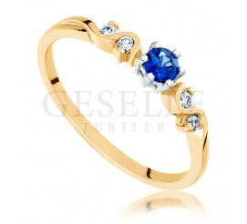 Złoty pierścionek zaręczynowy z szafirem i brylantami - doskonały pomysł na zaręczyny