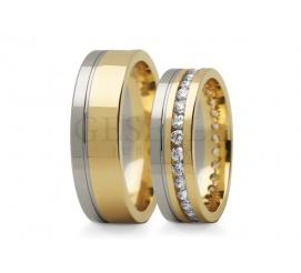 Imponujące obrączki ślubne z dwóch kolorów złota z wspaniałym pierścieniem cyrkonii Swarovski ELEMENTS lub brylantów
