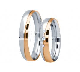 Zjawiskowy komplet obrączek ślubnych z dwukolorowego złota próby 585 z trzema cyrkoniami lub brylantami z kolekcji You&Me
