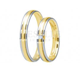 Dwukolorowy komplet obrączek ślubnych z kolekcji You&Me z cyrkonią lub brylantem