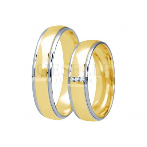 Wyjatkowy komplet obrączek ślubnych z dwukolorowego złota próby 585 z cyrkoniami lub brylantami z kolekcji You&Me