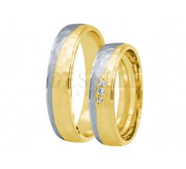 Niezwykły komplet dwukolorowych obrączek ślubnych z cyrkoniami Swarovski Elements lub brylantami