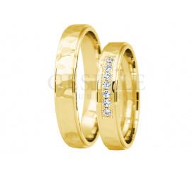 Oryginalny komplet obraczek ślubnych z 14-karatowego złota z kamieniami
