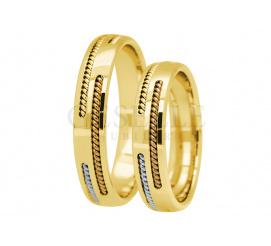 Wyjątkowy komplet obrączek ślubnych z 14-karatowego złota ozdobione fantazyjnym paskiem