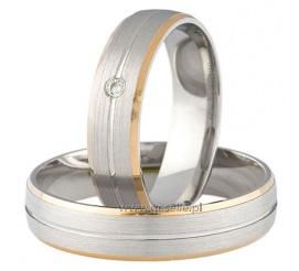 Dwukolorowe obrączki ślubne z delikatnym detalem i lśniącym kamieniem - cyrkonią Swarovski ELEMENTS lub brylantem