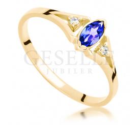 Niezwykle olśniewający pierścionek zaręczynowy z tanzanitem i brylantami w żółtym złocie