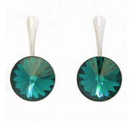 Komplet srebrnych kolczyków z kryształami Swarovski ELEMENTS w kolorze blue zircon